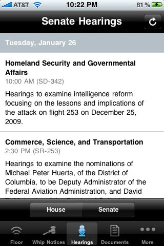 Iphone jd january 2010 the whip notices button provides links to daily and weekly notices from the house majority and minority whips when i tested the app only the republican fandeluxe