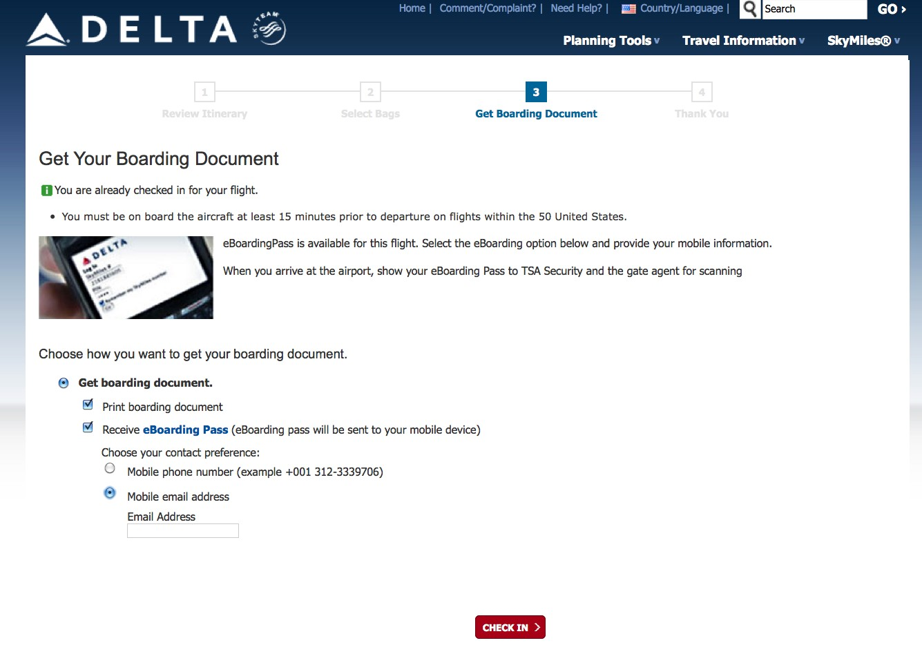 how do you print your delta air lines boarding pass