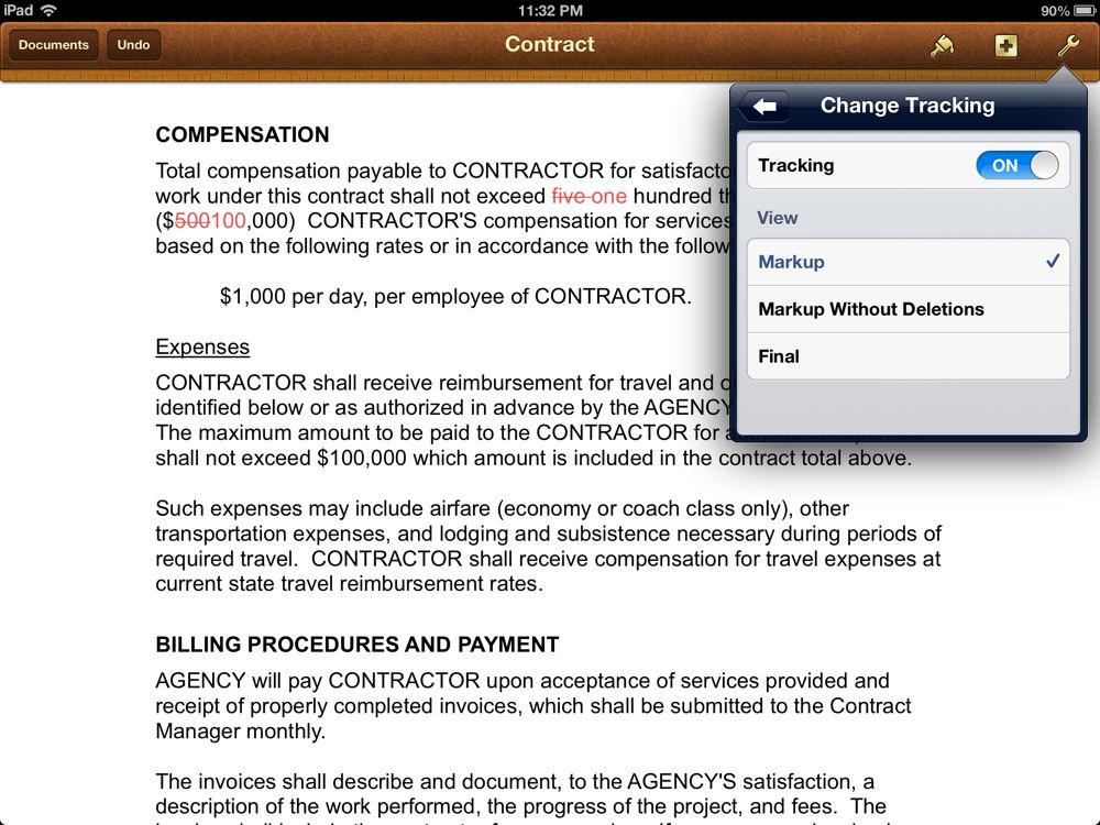 Commercial Invoice Example Pdf Update To Apples Pages App Adds Track Changes Feature  Iphone Jd Ipad Invoice App with Child Care Invoice Template Word If Multiple Authors Have Changed A Document You Will See The Changes Of  Each Author In A Different Color The Pages App Doesnt Show You The Name  Of Each  Receipting System Word