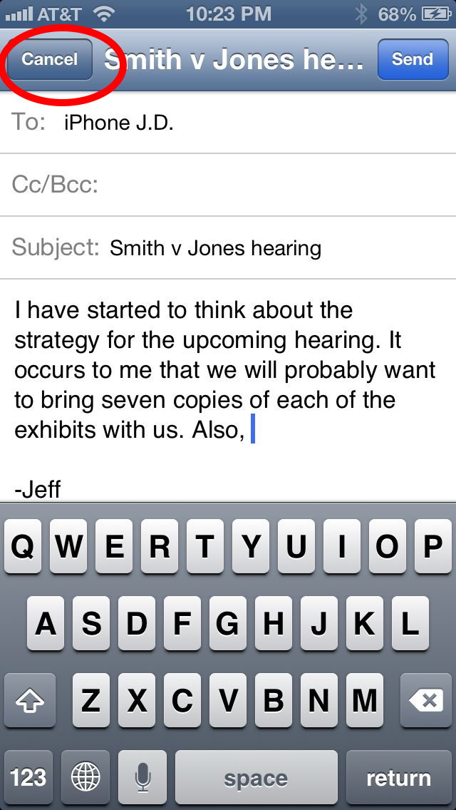 iPhoneiPad tip save draft of email iPhone JD