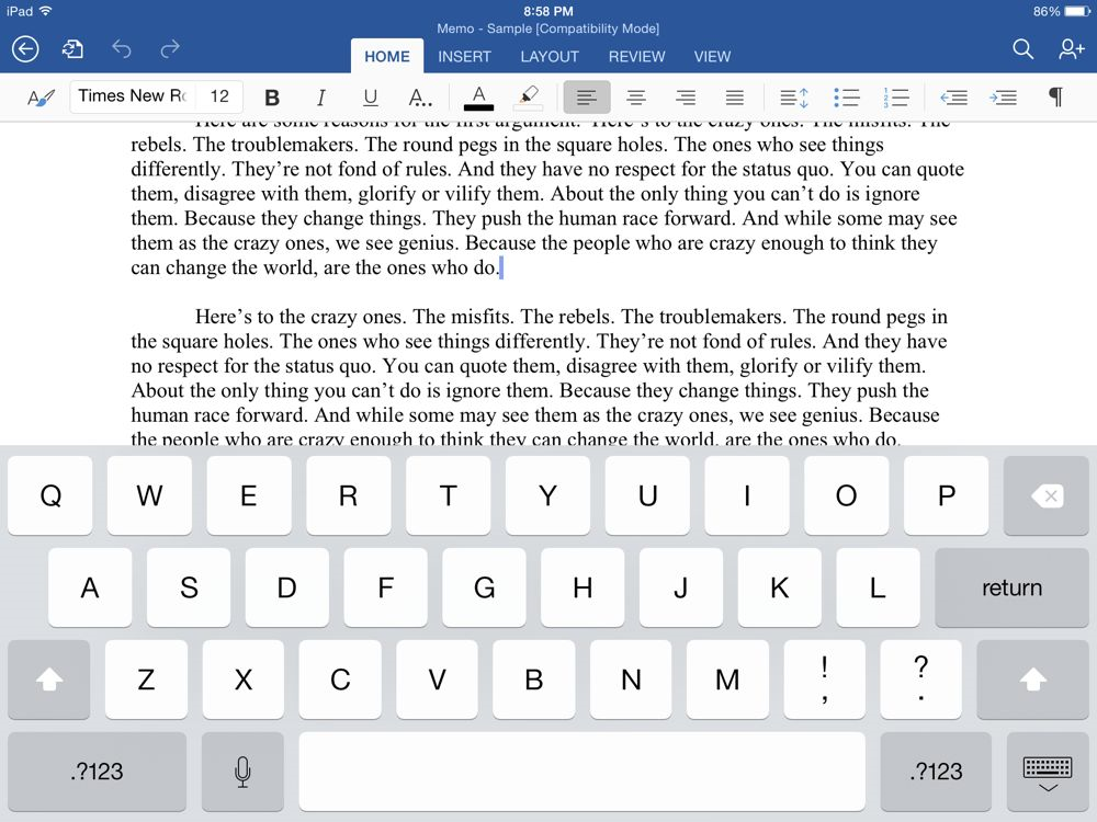 Does the ipad have word processor or Microsoft works?