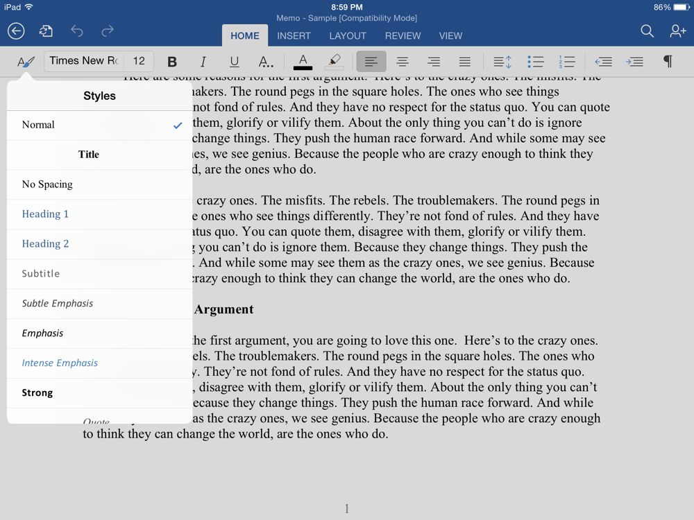 change paper size in numbers for ipad