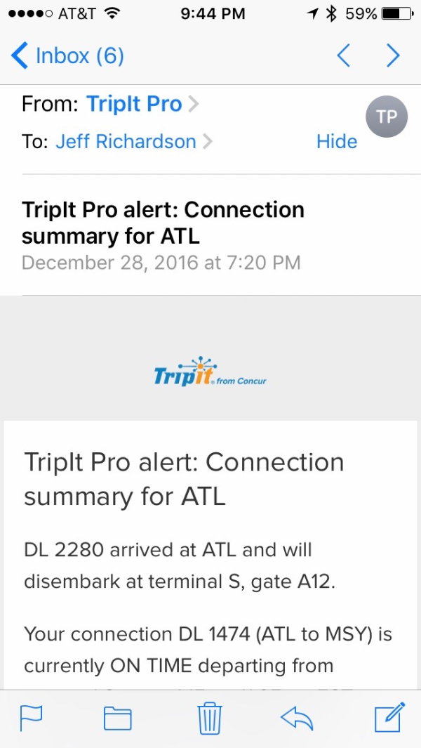 Review: TripIt Pro -- notification of travel delays and